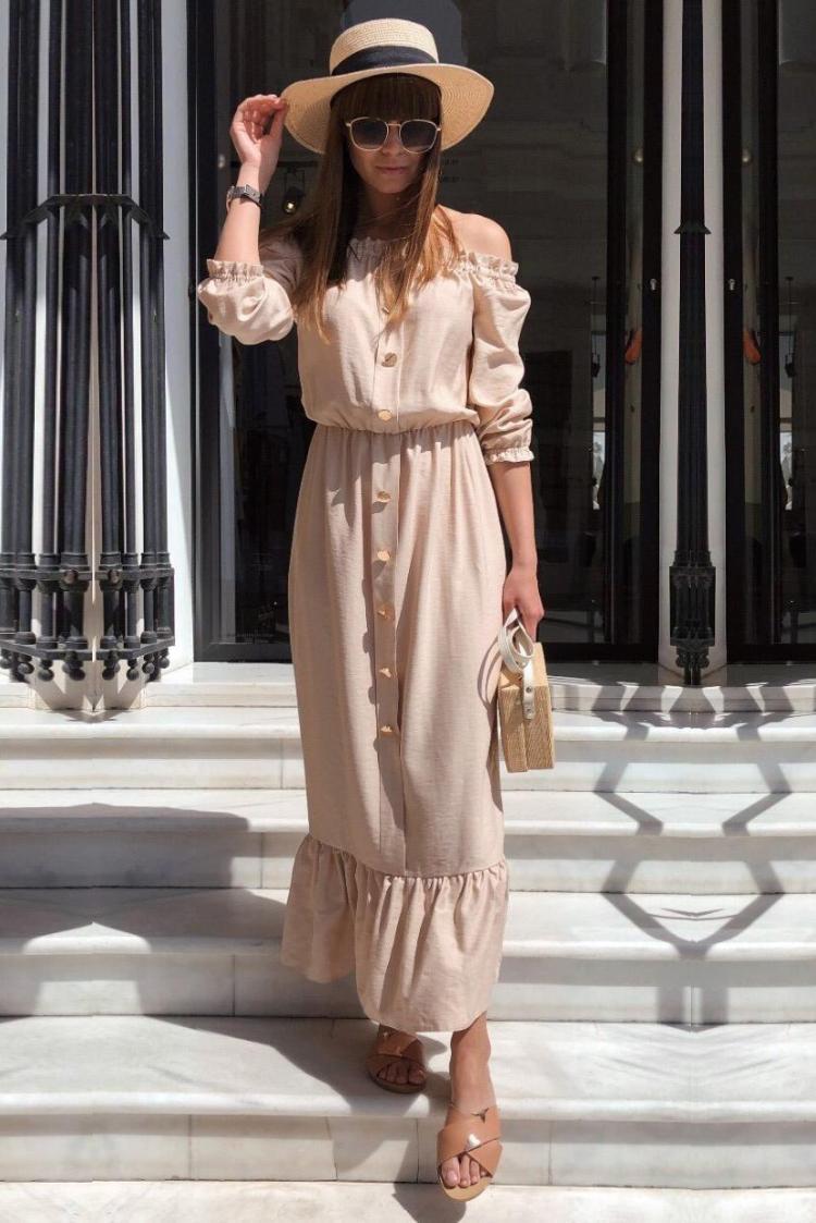φόρεμα HALIZA BEIGE - 1